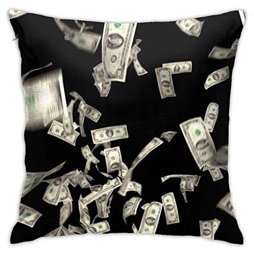 NHJYU Fodera per Cuscino Morbido da tiro 18 'X 18' Soldi Che Cadono in Dollari finanziari Vincici Us-currency-tax-make-it-rain-4k_v1tgki8c_F0004 Federa Design Moderno, copriletti Quadrati, Cuscino