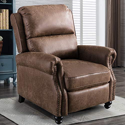 IOMOR Push Back Recliner Chair, Single Reclining Sofa with Nailhead Trim for Living Room, Leather Chairs (Choc)