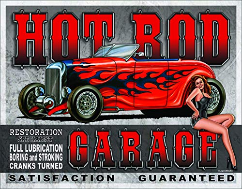 Garage Tin Sign Hot Rod Racing Beauty Garage Bar Club Vintage Classic Metal Sign Wall Decoration 12x8 Inches
