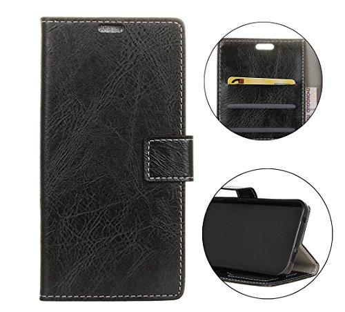 Sunrive Hülle Für Wiko Tommy 3, Magnetisch Schaltfläche Ledertasche Schutzhülle Hülle Handyhülle Schalen Handy Tasche Lederhülle(Crazy-Pferd schwarz)+Gratis Universal Eingabestift