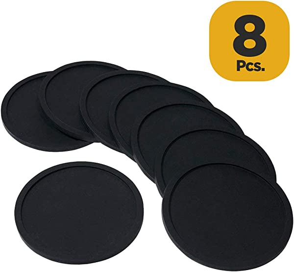 Attican Coasters For Drinks Set Of 8 Silicone Cup Coasters Perfect For Bar And House Modern And Minimalist Black