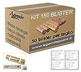 Blister para monedas de euro KIT 150 MIXTOS: 1-2 - 5 céntimos (50 piezas por denominación) mastrino y precintos GRATIS