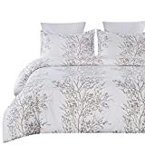 Vaulia Soft Microfiber Duvet Cover Set, Printed Tree Branch Pattern White and Brown Color - Queen ( 1 Duvet Cover 2 Pillow Shams )
