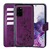 WaterFox Samsung Galaxy S20+ Plus Wallet Leather Case with 2 in 1 Detachable Cover, Women Flip Folio with 4 Card Slots & Wrist Strap Cases - Purple
