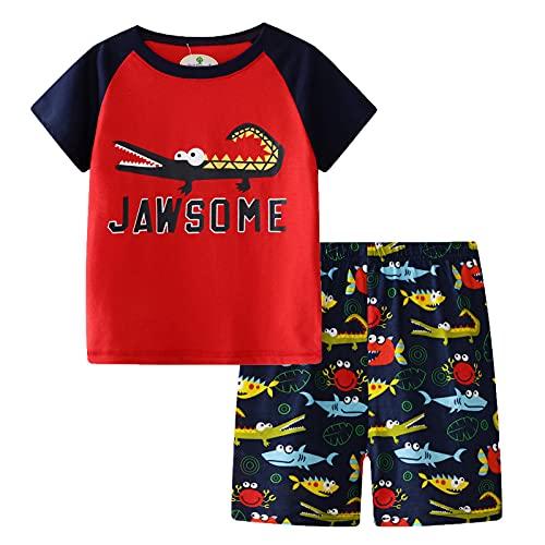 T-shirt met korte mouwen en shorts, jongenskleding cartoon katoen zomer korte mouwen T-shirt en shorts kinderen outfit set