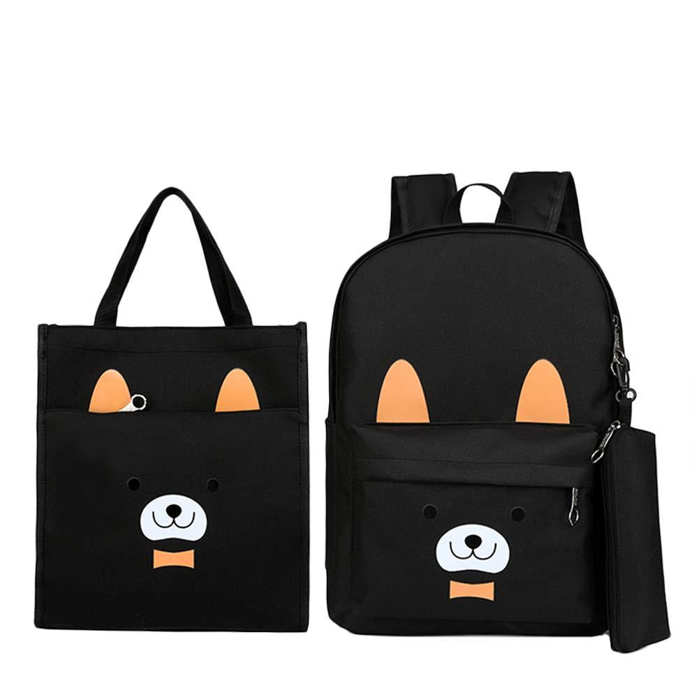 芊菲雅 儿童双肩书包 卡通熊三件套小中年级 儿童帆布双肩包补习袋笔袋 (黑色)