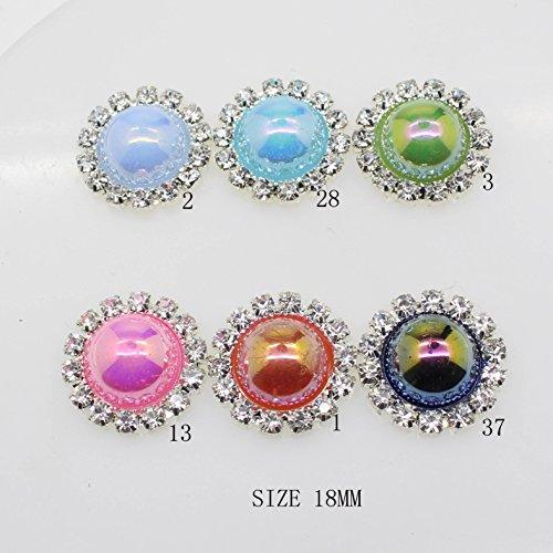 Lot de 20 18 mm rond imitation perles Décorations Strass Bouton flateback DIY Accessoires mix 6 couleurs