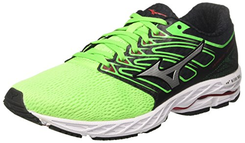 Mizuno Wave Shadow, Zapatillas de Running para Hombre, Multicolor (Greenslime/White/formulaone 01), 42 EU