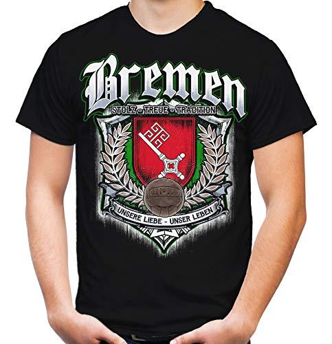 Für Immer Bremen Männer und Herren T-Shirt | Sport Fussball Stadt Fan (M, Schwarz Druck: Bunt)