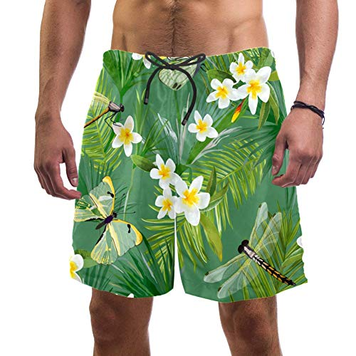 Dragon Sword Tropical Floral Seamless Pattern with Dragonflies Men's Summer Beach Shorts Board Shorts Quick-Drying Surfing Swim Trunks with Pockets