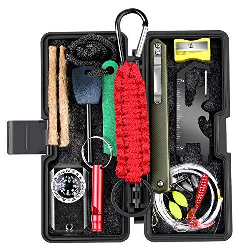 Kit de Supervivencia, 10 en 1 Multifuncional de Emergencia Kit Supervivencia, Regalos Ideales de Navidad y cumpleaños para Hombres para Viajar Caminar Acampar al Aire