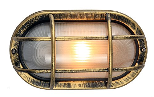 Zwart/goud gegoten aluminium buitenwand wandlamp