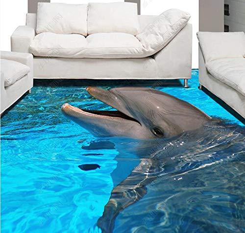 Benutzerdefinierte 3D selbstklebende Boden Wandbild Blue Ocean Dolphin Badezimmer 3D Bodenfliesen Wandbild, 200 * 140Cm