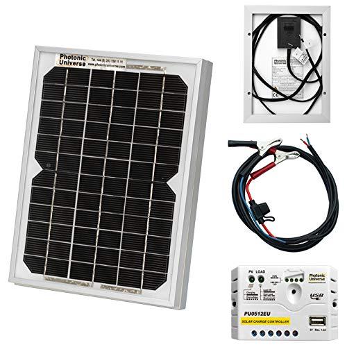 5 W 12 V Photonic Universe lote de panel solar con 5 A controlador de carga y batería cables se entrega en caja de, caravan, barco o cualquier 12 V (5 Watt) sistema de