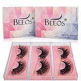 BEEOS Mink Eyelashes,3 Styles Multipack 3D Mink Lashes Natural False Eyelashes Eyelashes Soft Reusable Make Up Real 100% Siberian Mink Fur False Eyelashes 3 Styles/Daily 1