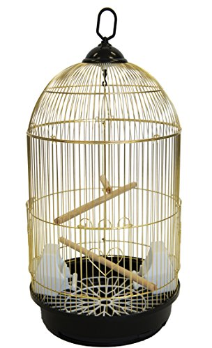 YML A1594 Bar Spacing Round Bird Cage, Brass, Large
