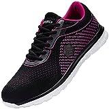 DYKHMILY Impermeable Zapatillas de Seguridad Anti-punción Ligeras Zapatos de Seguridad Trabajo Antideslizante Punta de Acero Calzado de Seguridad Deportivo (Rododendro Rojo,42 EU)