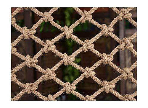 WML Hand-woven anti-aging hemp rope, children's safety net, Ceiling Hang decoration net,stair fall prevention net, cargo rope balcony railing protection net, decorative net Diameter 16mm beige