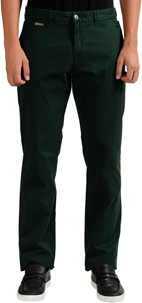 Versace Collection Stretch Men's Dark Green Casual Pants