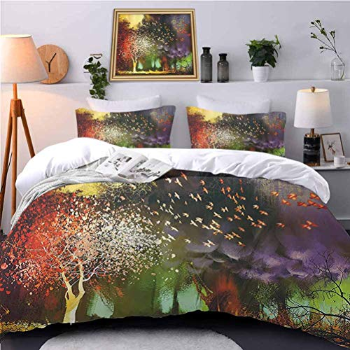 UNOSEKS LANZON Bedding Duvet Cover Set Fairy Forest with Mysterious Trees and Birds Supernatural Vivid Wder World Hypoallergenic Duvet Cover Hypoallergenic, Breathable - Full Size