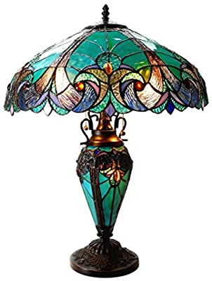 """Chloe Lighting CH18780VG18-DT3 Liaison Tiffany-Style Victorian 3 Light Double Lit Table Lamp with Shade, 24.5 x 18 x 18"""", Multicolor"""