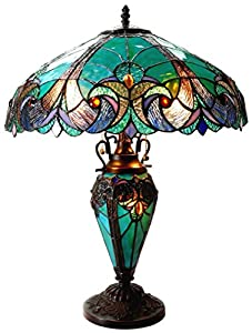 Prices Chloe Lighting Ch18780vg18 Dt3 Quot Liaison Quot Tiffany Style Victorian 3 Light Double Lit Table Lamp 18 Inch Shade Cousen100i
