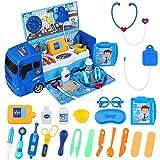 iBaseToy Arztkoffer Arzt Spielzeug Kinder mit Großem Krankenwagenspielzeug (42x19.5x16 cm),...
