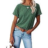 Mayntop Tops de verano para mujer de manga corta raglán liso sólido entrecruzado cruzado suelto casual camiseta