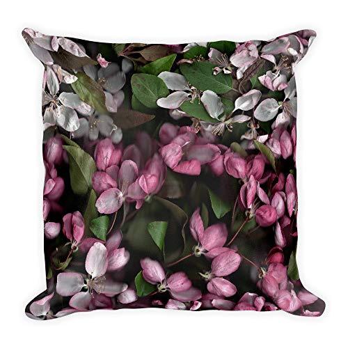DKISEE Funda de almohada cuadrada de lino de algodón de 66 cm suave funda de cojín de alta calidad con cremallera, almohada con diseño de flor de cerezo