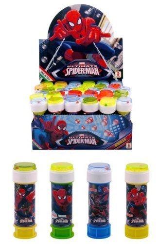 Fancy Me Boîte de Enfants Garçons Filles Marvel Spiderman Bulles Pots Sac de Fête Chaussettes de Noël Jardin Jouets Jeux (Boîte de 36)