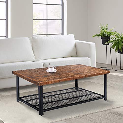 Olee Sleep Solid Wood Storage Shelf coffee Table, Rustic Brown