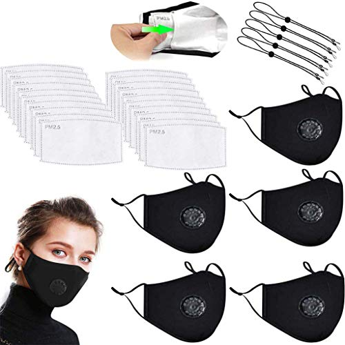5 Pc Washable Reusable Black Cotton Mouth Cover with 20 Pack Activated Carbon Filter,with 5 lanyards(Black)