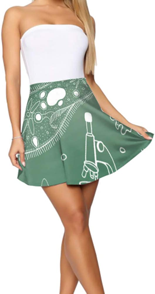 Liaosax Skater Skirt Biology Sketches Mini Skirts for Women Women's Basic Casual Women Skater Skirt S-XL
