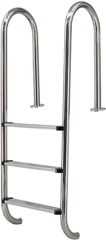 HHXD Escalera para Piscina Acero Inoxidable Pool Escalera de Seguridad Con Escalones y Pasamanos Antideslizantes/银色 / W50cm*H155cm