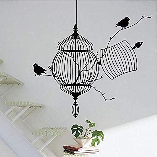 3D Birdcage Branch Creative Modern PVC Wall Stickers Removable Sealed Home Wall Living Room Home Decoration 50X57Cm