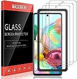 MASCHERI 3 Stück Panzerglas für Samsung Galaxy A71 Schutzfolie Ausgestattet mit einem Einbaurahmen 9H Festigkeit Panzerglasfolie Blasenfrei Bildschirmschutzfolie