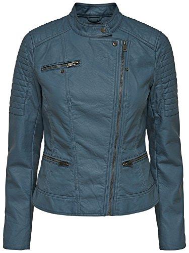 Only Damen Kunstlederjacke Übergangsjacke Biker-Jacke (XS, Stormy Weather)