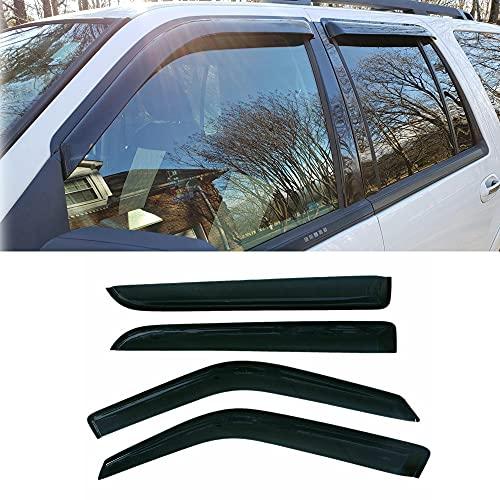 Puermto Original Side Window Wind Deflector, 4pcs Out-Channel Tape-On Nice Rain...