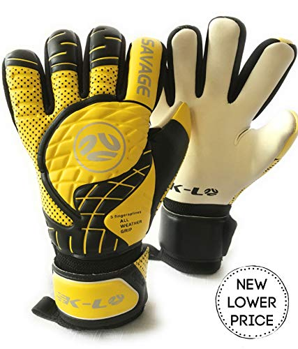 FINGERSAVE Goalkeeper Gloves by K-LO - The Savage Goalie Glove Has Fingersave Protection in All 5-Fingers to Prevent Injury and Improve Shot Blocking. Super Sticky Palms.Youth & Adult Sizes.Yellow.
