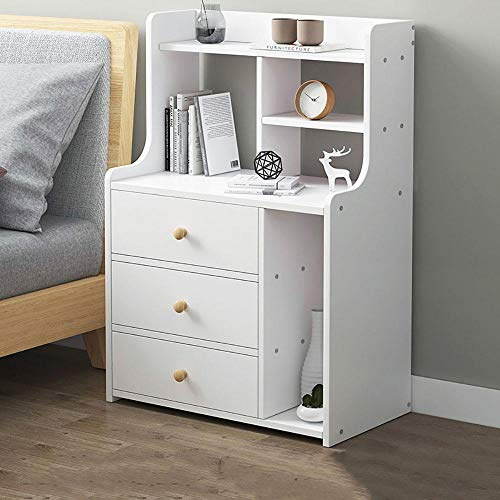 BOPP Bed Side Tables, Multi-level Space Thin Bedside Table Easy to Assemble Bedside Cabinet Bedroom, Spacious Countertop Drawer Storage Rounded Corner Portable Handle Solid Structure A