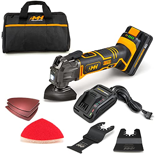 MOTORHEAD 20V ULTRA Cordless Oscillating Multi Tool, Lithium-Ion, LED, 18000 OPM, 3.2° Angle, Variable Speed, Tool-Free, Sanding, Cutting, Scrapping Accessories, 2Ah Battery, Charger, Bag, USA-Based