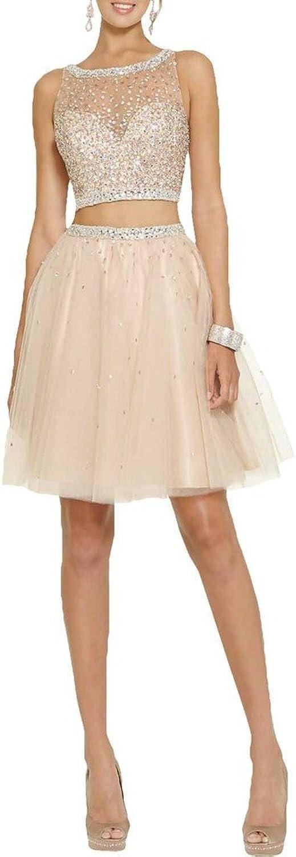 Angel Bride 2015 Fashion Sexy Two Pieces Aline Prom Dress Beaded Bodice