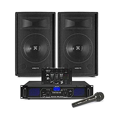 """VONYX SL 12"""" Bluetooth PA Speakers and Amplifier, Mixer and Mic FPL1000 MP3 Mobile DJ"""