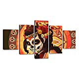 Dia De Los Muertos Sugar Skull Girl's Face Painting Canvas HD Printed Day of the Dead Pictures Saints Day Halloween Wall Art for Living Room Modern Home Decor Gallery-wrapped 5 PCS Framed(60''Wx32''H)