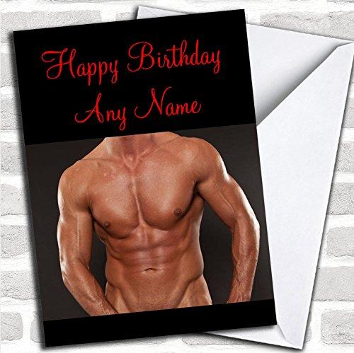 Prachtige Mans Body verjaardagskaart met envelop, kan volledig gepersonaliseerd worden, snel en gratis verzonden