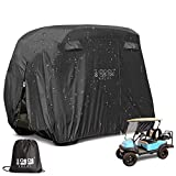 10L0L 4 Passenger Outdoor Golf Cart Cover,400D Waterproof Golf Cart Covers with Extra PVC Coating fits EZ GO Club Car Yamaha (This Product has a Flaw in its Design. But it Does not Affect The use)