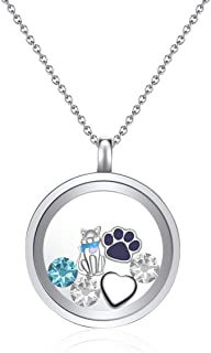 Mestige Jewellery I Love Cats Floating Charm Necklace with Crystals from Swarovski®