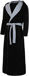 Men Winter Lengthened Plush Bathrobe, Male Solid Long Sleeve Hoodies Long Robe Wirh Belt