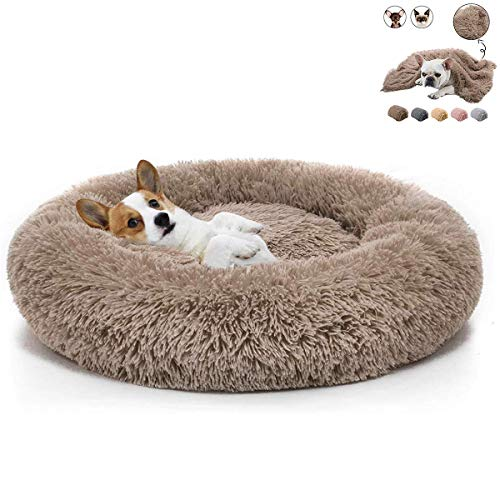 Boehner Rundes Hundebett, Plüsch weich waschbar selbst erwärmend beruhigend Hundebett Donut Cuddler Rundes Hundebett bequem zum Schlafen Winter (Donut Pet Bed 80cm)