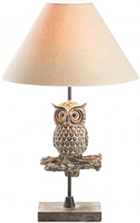 Zings & Thingz 57074226 Perched OWL Table LAMP, Cream